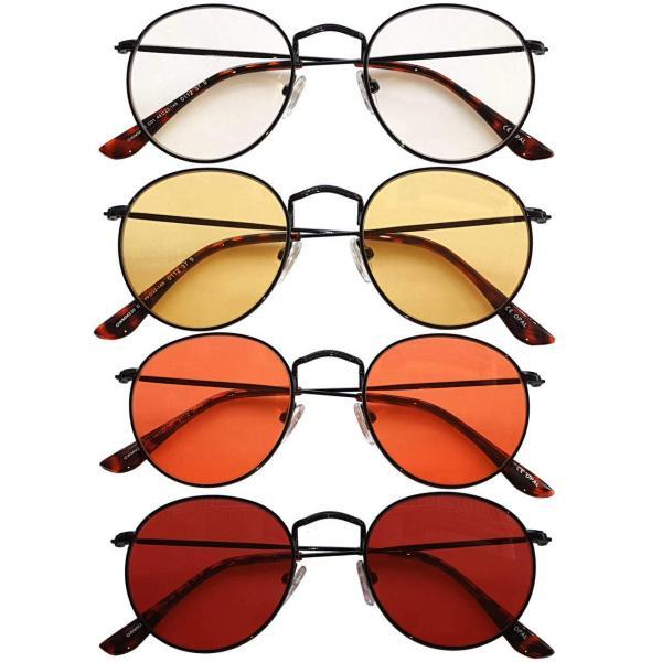 Chrysler Blue Blocking EyeGlasses con lenti Trasparenti, Gialle, Arancioni e Rosse - no Sfondo