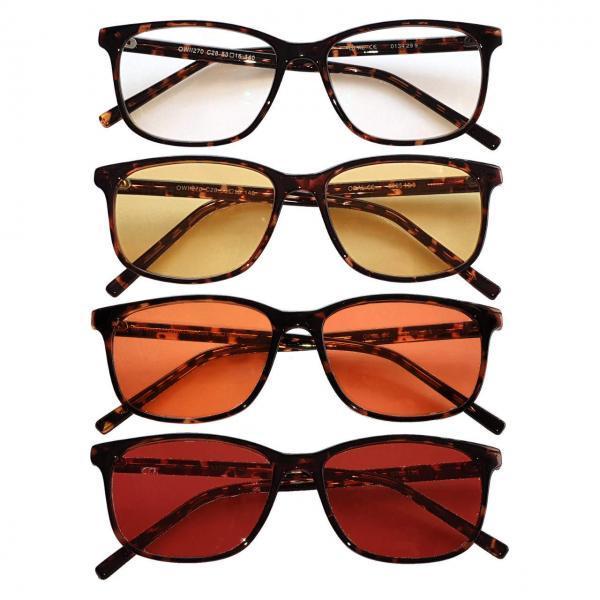 Rockefeller Blue Blocking EyeGlasses lenti Trasparenti, Gialle, Arancioni e Rosse - no Sfondo